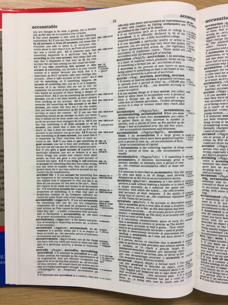 A page from the first edition of COBUILD Advanced Learner's Dictionary