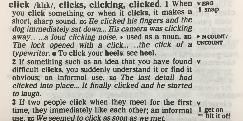 The entry for click from the first edition (1987)