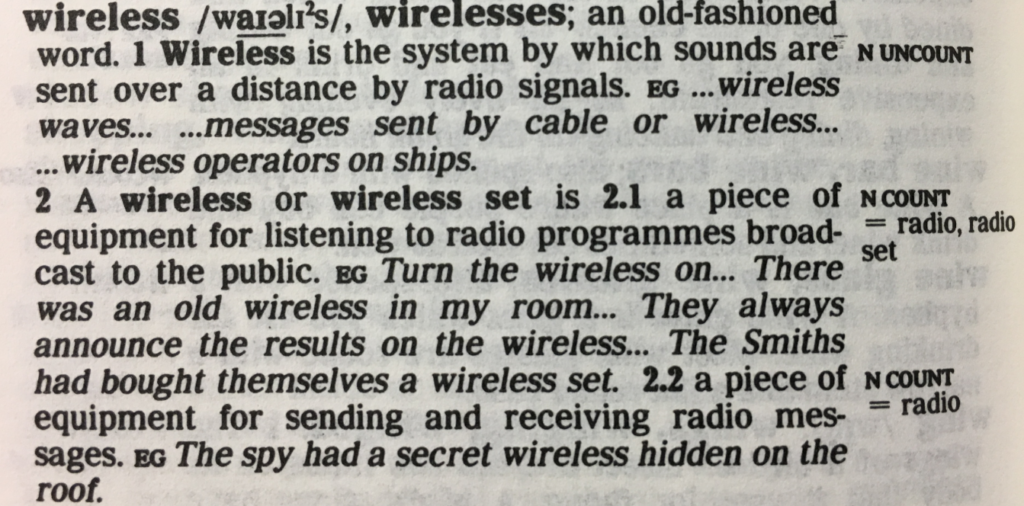 The entry for wireless from the first edition (1987)