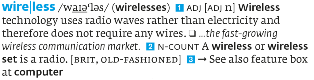 The entry for wireless from the ninth edition