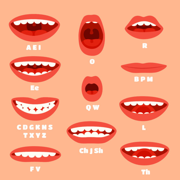 mouths showing sounds of English